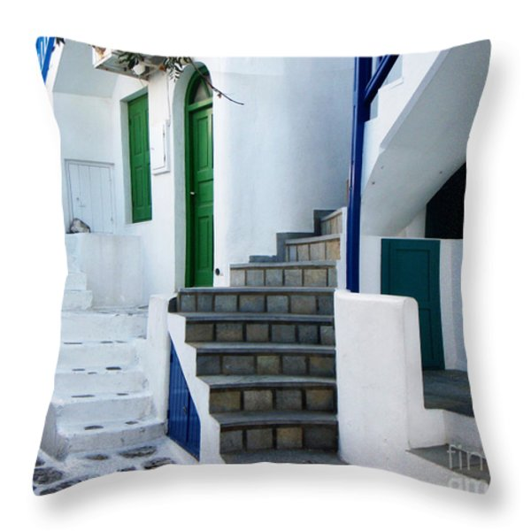 Mykonos Stairs Throw Pillow by Rebecca Margraf