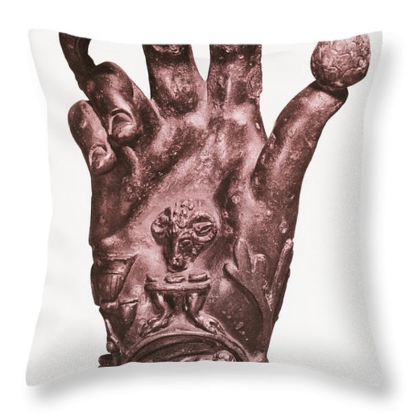 Mythological Hand Throw Pillow by Photo Researchers