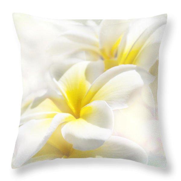Na Lei Pua Melia Aloha E Ko Lele - Yellow Tropical Plumeria Maui Throw Pillow by Sharon Mau