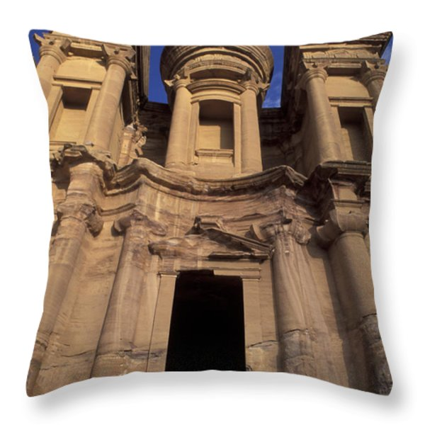 Nabataean Traders Stand In The Doorway Throw Pillow by Richard Nowitz