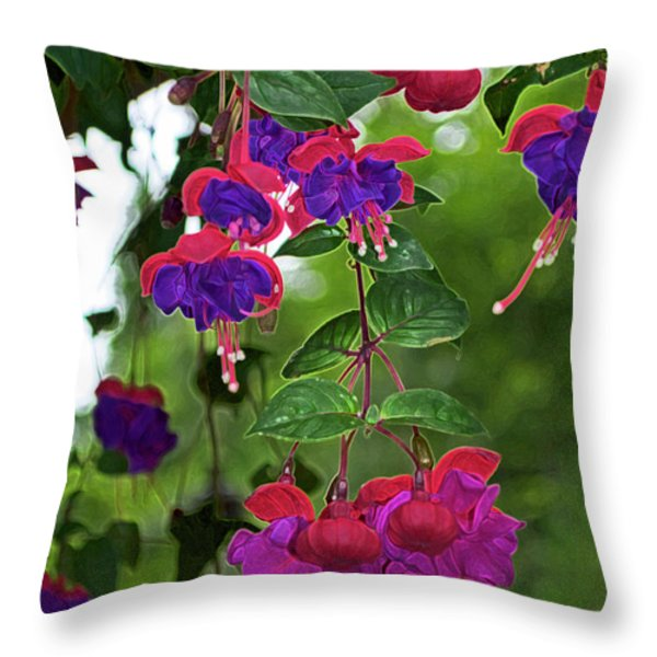 Nan's Fushia Throw Pillow by Gwyn Newcombe