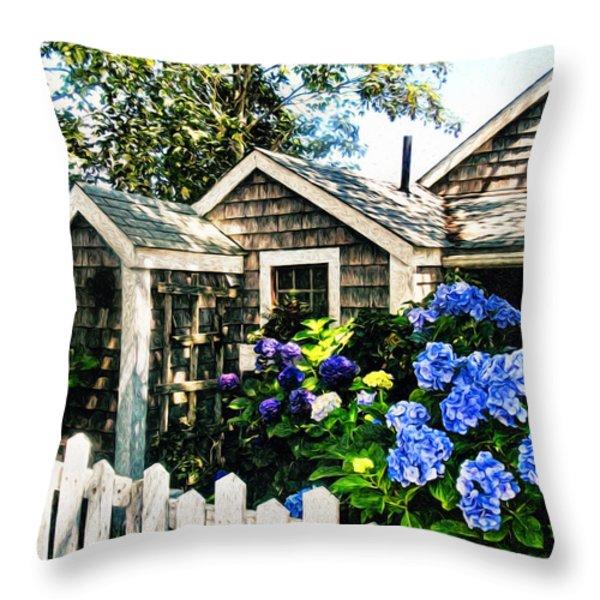 Nantucket Cottage No.1 Throw Pillow by Tammy Wetzel