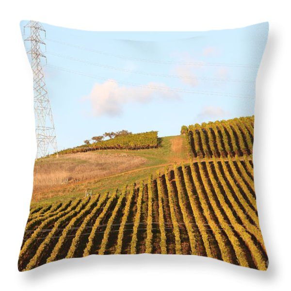 Napa Valley Vineyard . 7d9066 Throw Pillow by Wingsdomain Art and Photography
