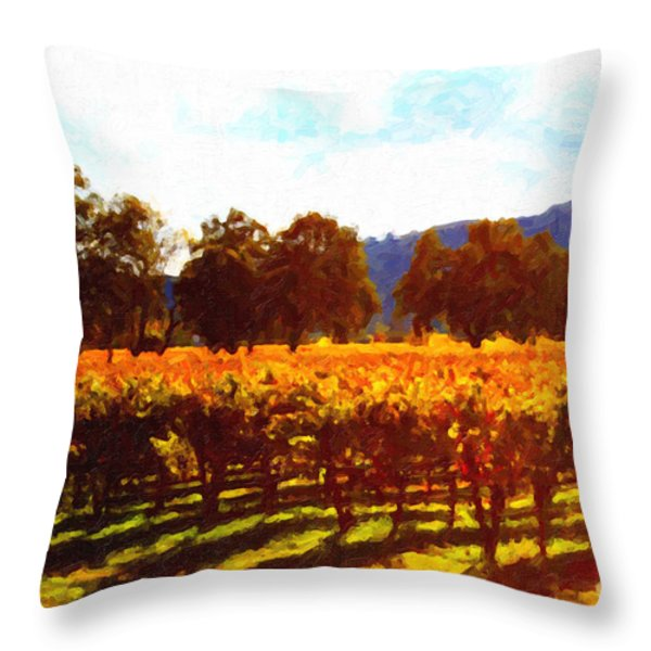 Napa Valley Vineyard in Autumn Colors 2 Throw Pillow by Wingsdomain Art and Photography