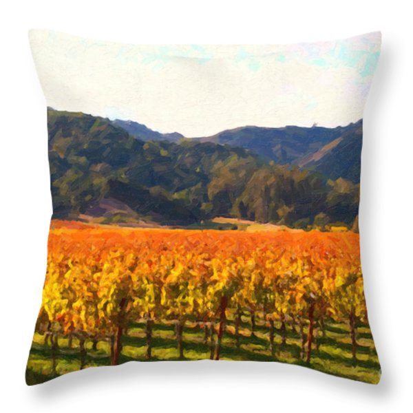 Napa Valley Vineyard in Autumn Colors Throw Pillow by Wingsdomain Art and Photography
