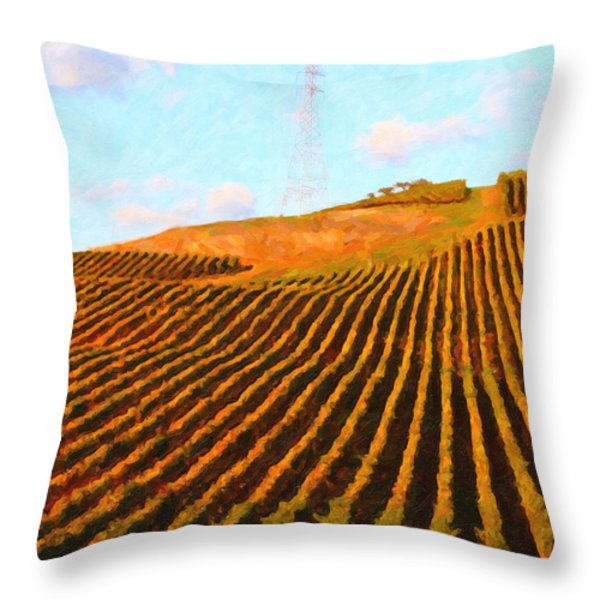 Napa Valley Vineyard . Portrait Cut Throw Pillow by Wingsdomain Art and Photography