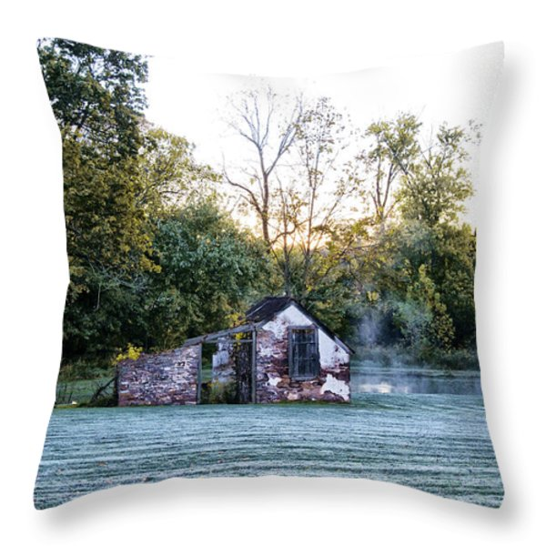 Narcissa Springhouse In Fall Throw Pillow by Bill Cannon