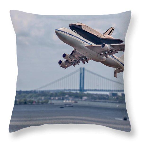 NASA Enterprise Space Shuttle Throw Pillow by Susan Candelario