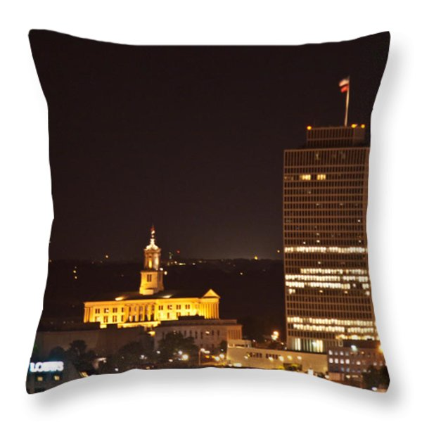 Nashville Cityscape 5 Throw Pillow by Douglas Barnett