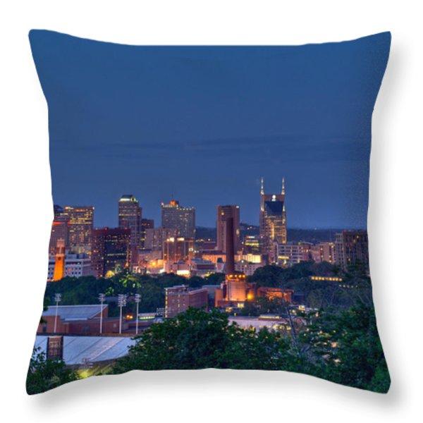 Nashville Cityscape 7 Throw Pillow by Douglas Barnett