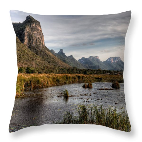 National Park Thailand Throw Pillow by Adrian Evans