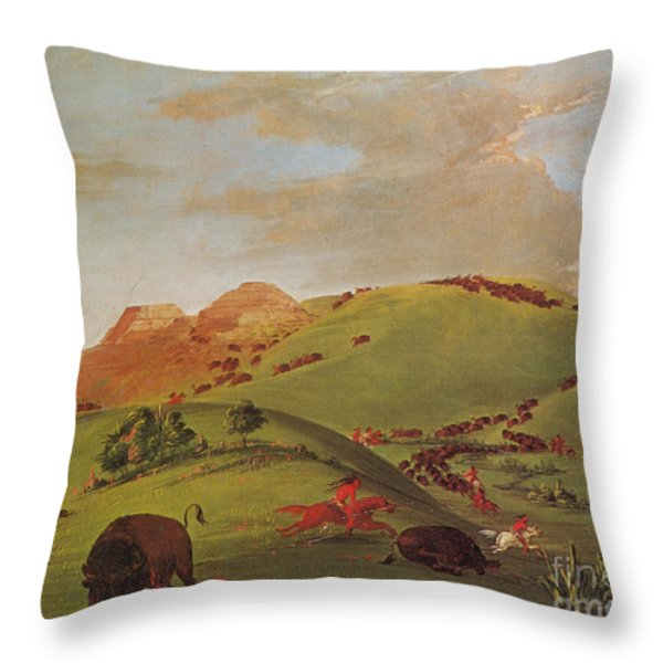 Native American Indians, Buffalo Chase Throw Pillow by Photo Researchers