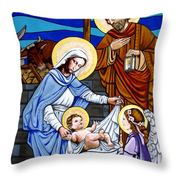 Nativity at Valley Ranch Throw Pillow by Joan Garcia