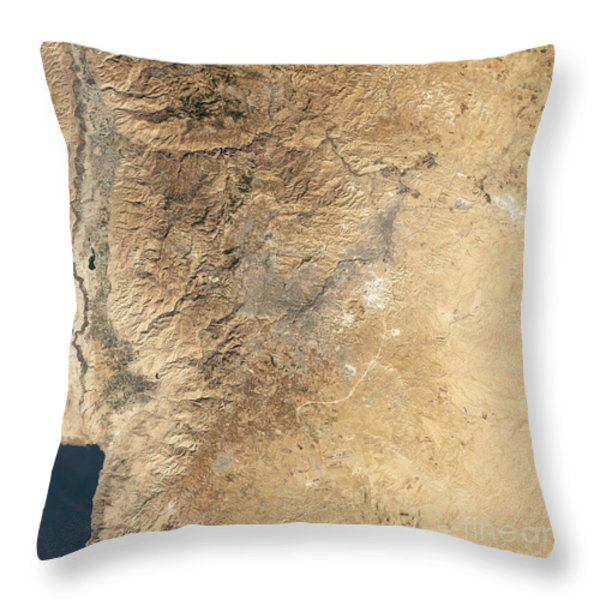 Natural-color Satellite View Of Amman Throw Pillow by Stocktrek Images