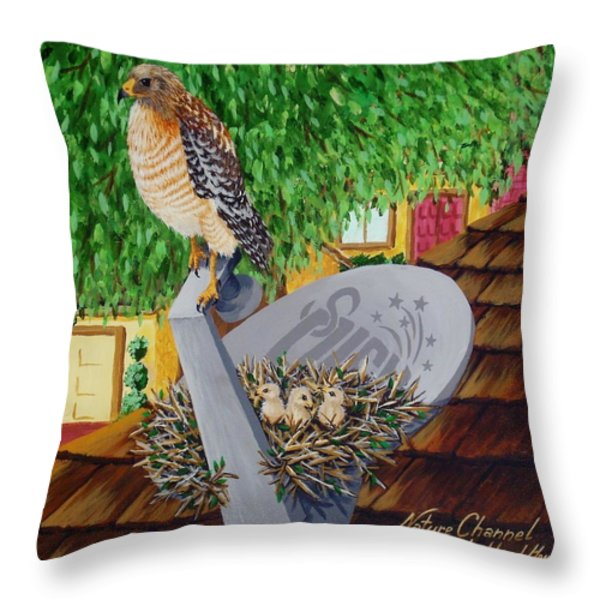 Nature Channel- Red Shouldered Hawk Throw Pillow by Katherine Young-Beck