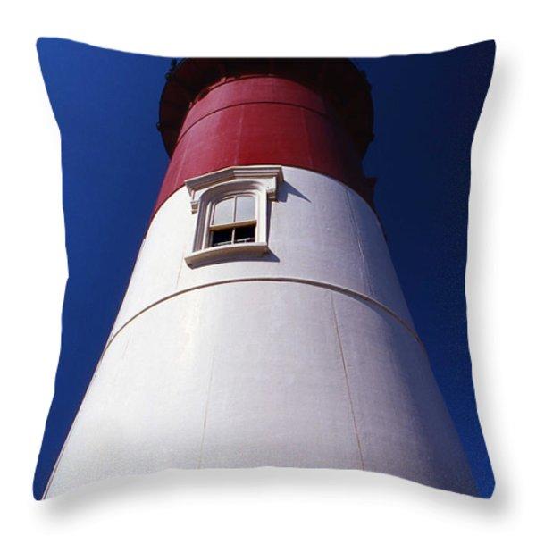 Nauset Beach Lighthouse Throw Pillow by Skip Willits