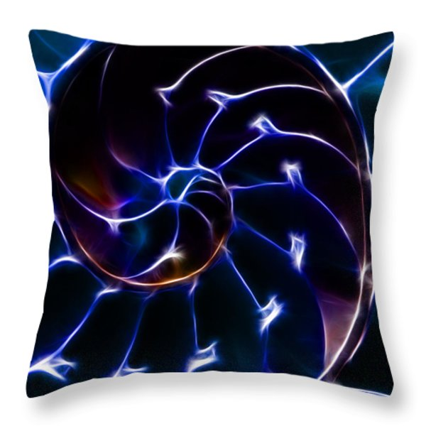Nautilus Shell - Electric - Blue Throw Pillow by Wingsdomain Art and Photography