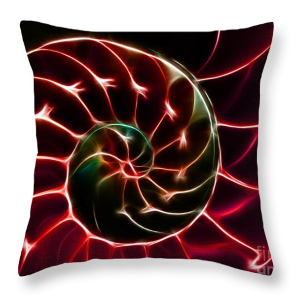 Nautilus Shell - Electric - v2 - Red Throw Pillow by Wingsdomain Art and Photography