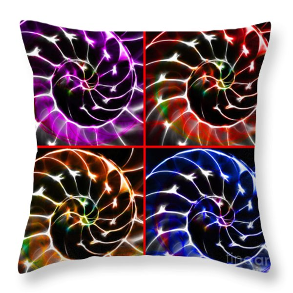 Nautilus Shell Ying And Yang - Electric - V1 - Four Squares Throw Pillow by Wingsdomain Art and Photography