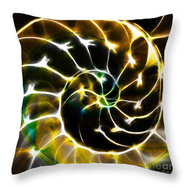Nautilus Shell Ying and Yang - Electric - v1 - Gold Throw Pillow by Wingsdomain Art and Photography