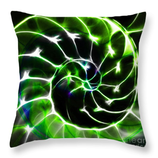 Nautilus Shell Ying and Yang - Electric - v1 - Green Throw Pillow by Wingsdomain Art and Photography
