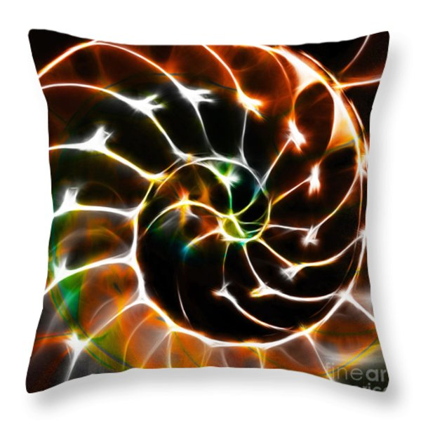 Nautilus Shell Ying and Yang - Electric - v1 - Orange Throw Pillow by Wingsdomain Art and Photography