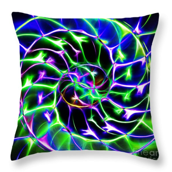 Nautilus Shell Ying and Yang - Electric - v2 - Blue-Green Throw Pillow by Wingsdomain Art and Photography