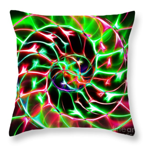 Nautilus Shell Ying and Yang - Electric - v2 - Green Throw Pillow by Wingsdomain Art and Photography