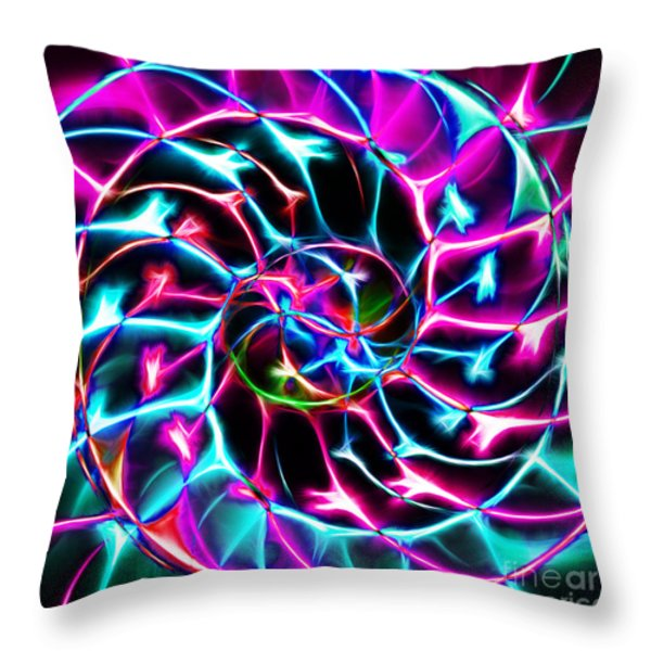 Nautilus Shell Ying and Yang - Electric - v2 - Violet Throw Pillow by Wingsdomain Art and Photography