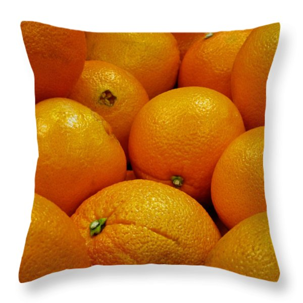 Navel Oranges Throw Pillow by Methune Hively