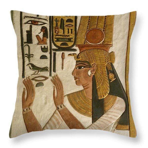 Nefertari Tomb Scenes, Valley Throw Pillow by Kenneth Garrett