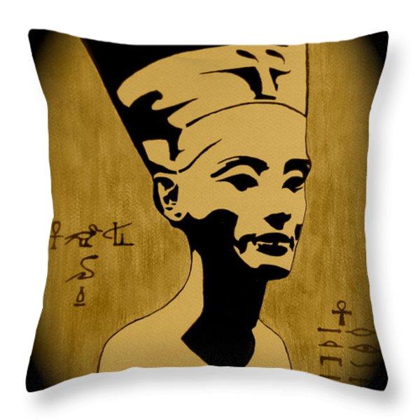 Nefertiti Egyptian Queen Throw Pillow by Georgeta  Blanaru