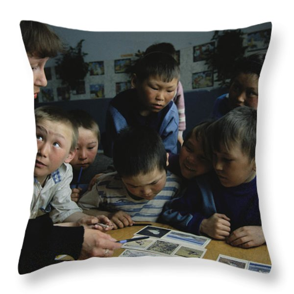 Nenets Students Must Learn Russian Throw Pillow by Maria Stenzel