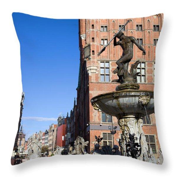 Neptune Fountain In Gdansk Throw Pillow by Artur Bogacki