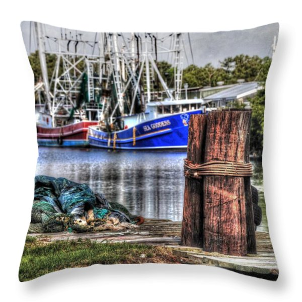 Nets And The Sea Goddess Throw Pillow by Michael Thomas
