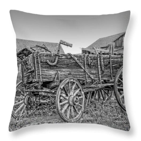 Nevada City Montana Freight Wagon Throw Pillow by Daniel Hagerman