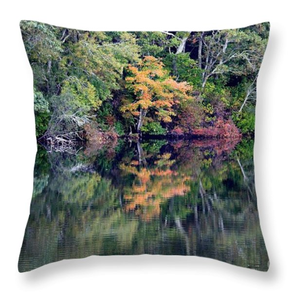 New England Fall Reflection Throw Pillow by Carol Groenen