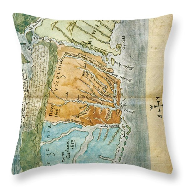 New England To Virginia, 1651 Throw Pillow by Photo Researchers
