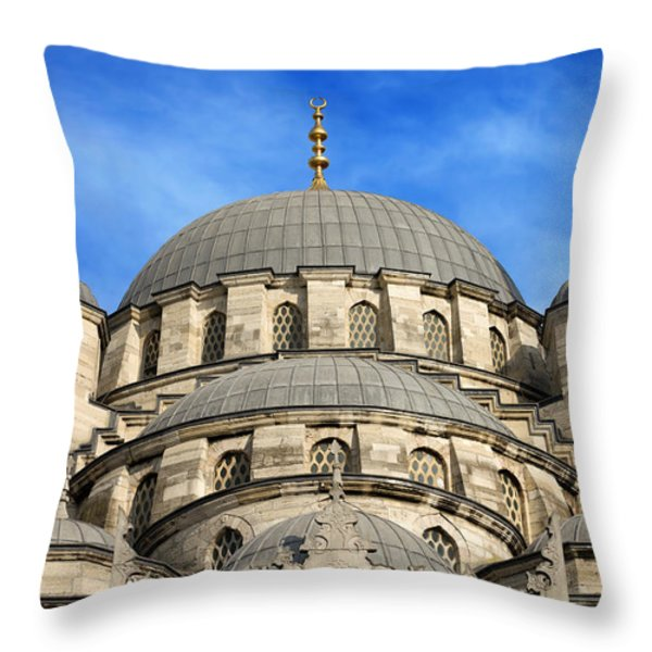 New Mosque Domes In Istanbul Throw Pillow by Artur Bogacki