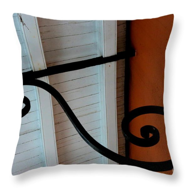 New Oleans White And Orange Throw Pillow by Carol Groenen