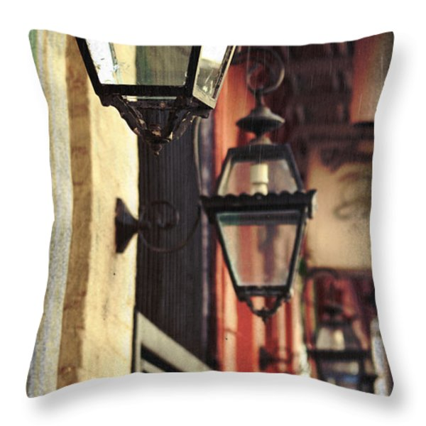 New Orleans Gas Lamps Throw Pillow by Jarrod Erbe