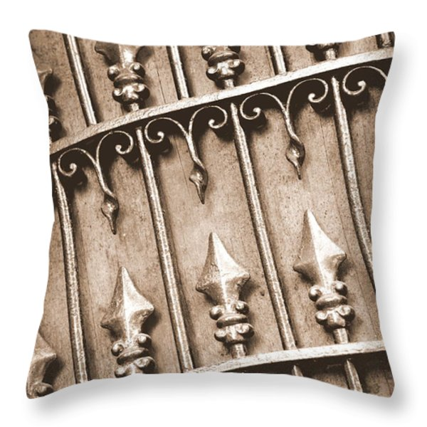 New Orleans Gate - Sepia Throw Pillow by Carol Groenen