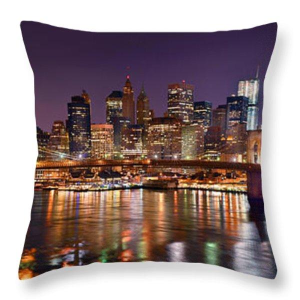 New York City Brooklyn Bridge And Lower Manhattan At Night Nyc Throw Pillow by Jon Holiday