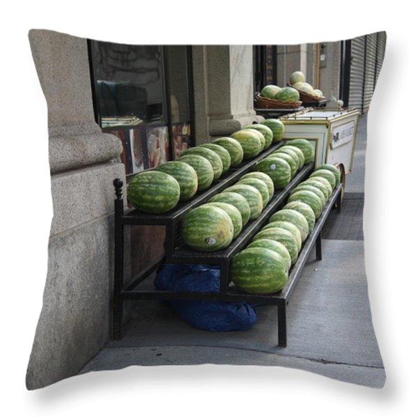 New York City Market Throw Pillow by Frank Romeo