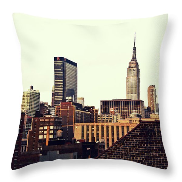 New York City Rooftops And The Empire State Building Throw Pillow by Vivienne Gucwa