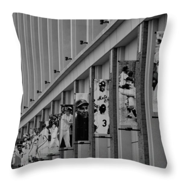 NEW YORK METS of OLD  in BLACK AND WHITE Throw Pillow by ROB HANS