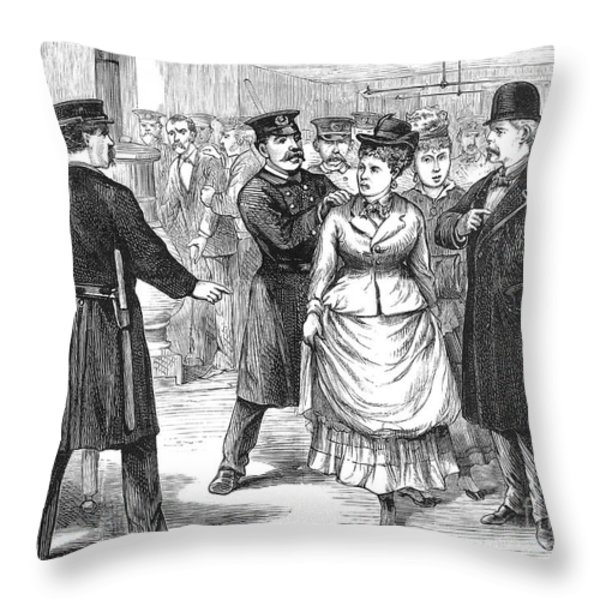 New York Police Raid, 1875 Throw Pillow by Granger