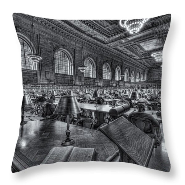 New York Public Library Main Reading Room VI Throw Pillow by Clarence Holmes