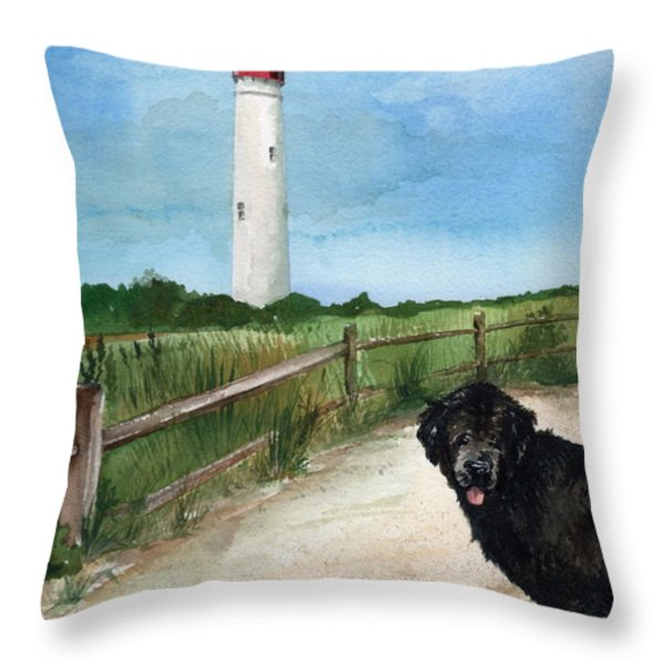 Newfy At Cape May Light  Throw Pillow by Nancy Patterson