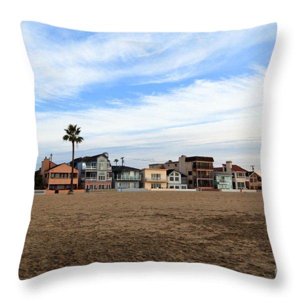 Newport Beach Oceanfront Houses Throw Pillow by Paul Velgos